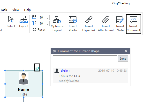add comments in an organizational chart