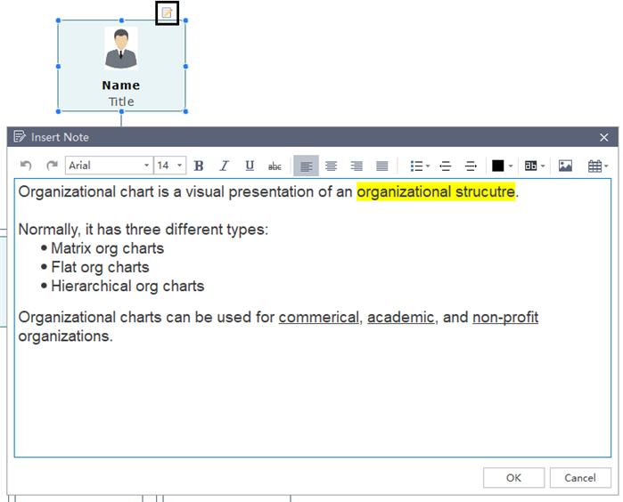 add and edit notes in org chart
