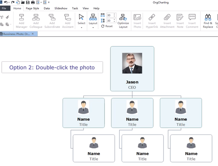 Double-click to Change org chart employee photos
