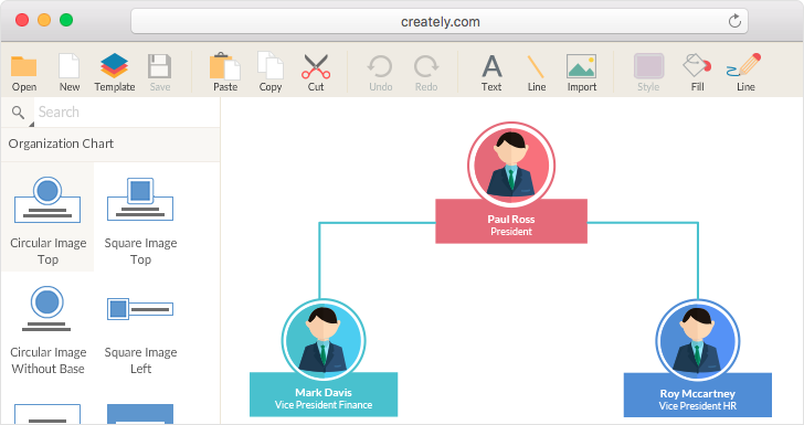 creately organizational chart program - Free Organizational Chart Template For Mac