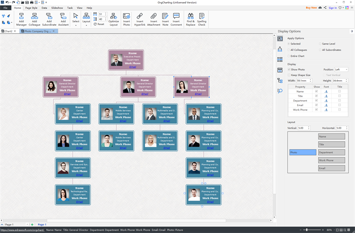 easy org chart creator user interface