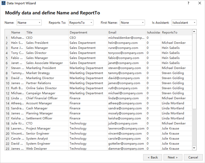 Import Your Org Chart Data