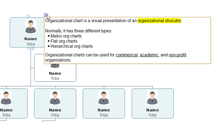 show notes in an org chart