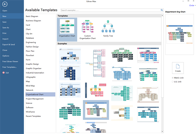 org chart software templates