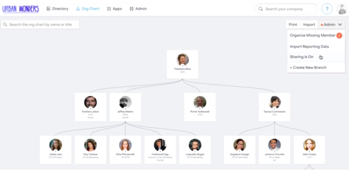 Org Chart Maker pingboard interface