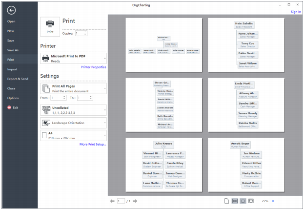 print your org chart