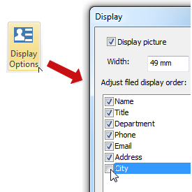 set display option
